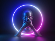 3d Render, Abstract Neon Light Background With Mannequin Body Parts. Female Head, Hands, Closed Mouth. Round Frame. Social Metaphor: Voiceless, Speechless, Suppressing The Truth, Hiding The Secret