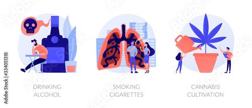 Fényképezés Booze dependence, nicotine addiction, marijuana growing icons set