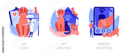 Fototapeta Veterinary hospital services and domestic animals hotels. Dogs grooming and health check center. Vet clinic, pet services, robotic pet sitters metaphors. Vector isolated concept metaphor illustrations obraz