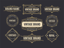 Vintage Old Label Set Design Template. Brewery, Whiskey, Card, Design Invitation, Poster