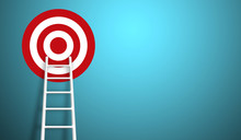 Stand Out From The Crowd And Think Different Creative Idea Concepts. Longest White Ladder And Aiming High To Goal Target With Copy Space