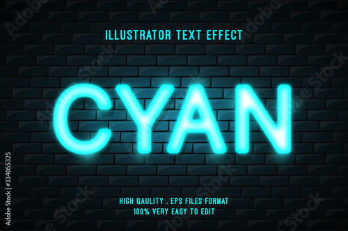 Neon glow on brick wall, editable text Billede på lærred