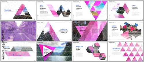 Minimal presentations design, portfolio vector templates with triangular design background, triangle style pattern Fototapet