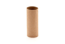 Empty Toilet Paper Roll Isolated White Background Single Tube