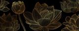 Golden lotus line arts on  dark background, Luxury gold wallpaper design for prints, banner, fabric, poster, cover, digital arts vector illustration. - 334067194