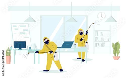 Fotografía Office disinfection, coronavirus disease prevention, vector flat illustration