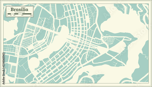 Canvas Print Brasilia Brazil City Map in Retro Style. Outline Map.