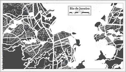 Photo Rio de Janeiro Brazil City Map in Retro Style. Outline Map.