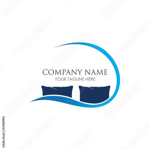 Photo Bed logo vector illustration design template. Bed logo vector