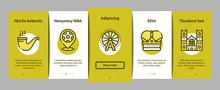 England United Kingdom Onboarding Mobile App Page Screen Vector. England Flag And Pound Sterling Coin, Bus And Cab Taxi, Big Ben And Tower Bridge Color Contour Illustrations