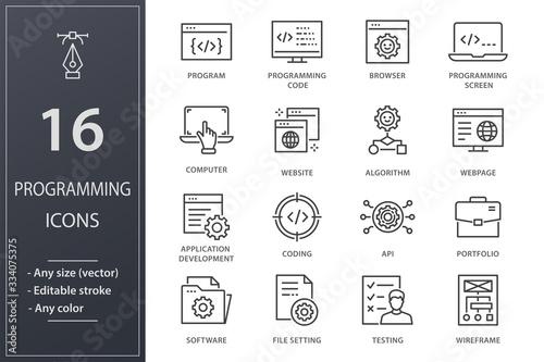 Fotomural Programming line icons set