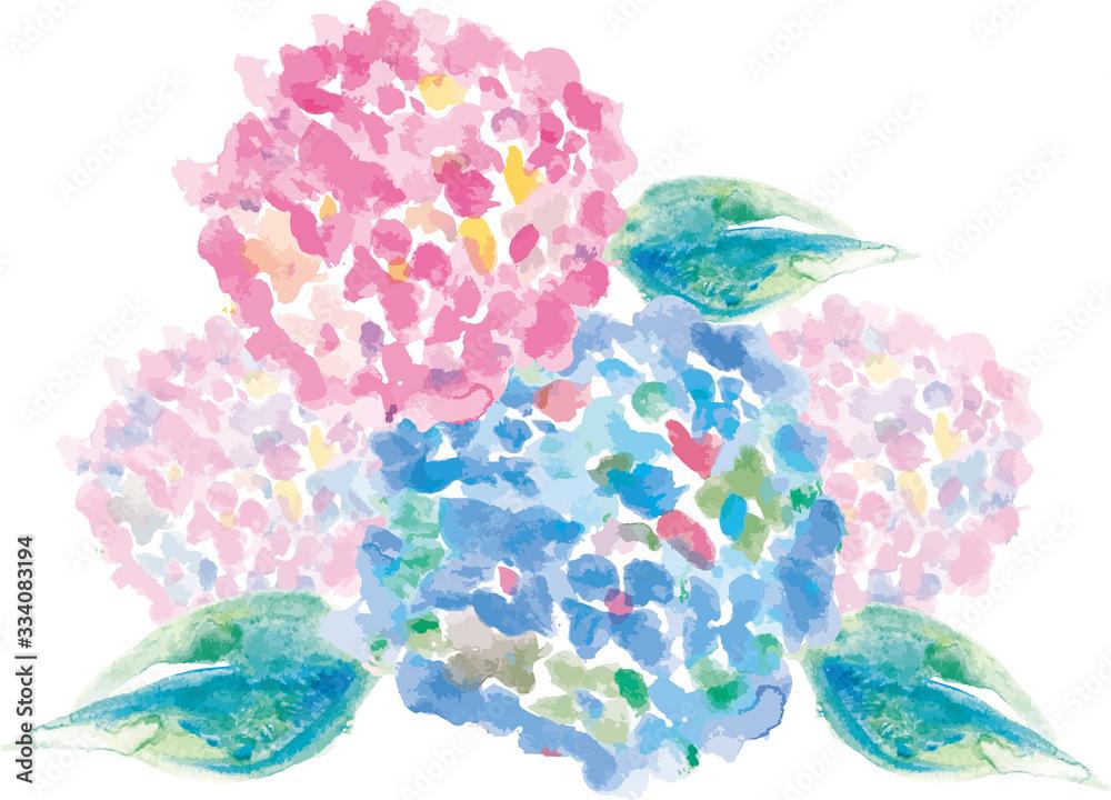 紫陽花 あじさい寺 花 6月 7月 梅雨 季節の花 水彩 手書き イラスト 背景 背景素材 手描き フレーム 枠 飾り枠 囲み枠 カラフル にじみ バックグラウンド 植物 自然 白バック アジサイ 初夏 あじさい 模様 素材 緑色 夏 葉 水彩画