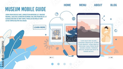 Art Museum Mobile Guide, Smartphone Application for Tourists Web Banner, Lading Page Template Wallpaper Mural
