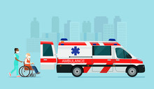 A Sick Elderly Man In A Mask Is Placed In An Ambulance. Vector Flat Style Illustration.
