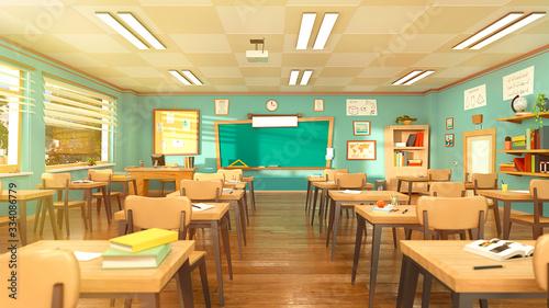 Cuadros en Lienzo Empty school classroom in cartoon style