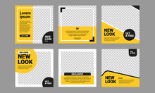 Set Of Editable Square Banner Template. Black And Yellow Background Color With Stripe Line Shape. Suitable For Social Media Post, Instagram And Web Internet Ads. Vector Illustration With Photo College