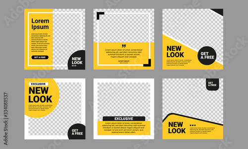 Set of Editable square banner template Fototapete