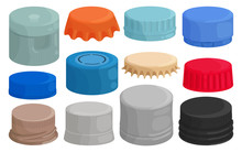 Bottle Caps Isolated Cartoon Set Icon. Cartoon Set Icon Lid Of Cover . Vector Illustration Bottle Caps On White Background.