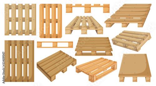 Obraz na plátně Wooden pallet vector cartoon set icon