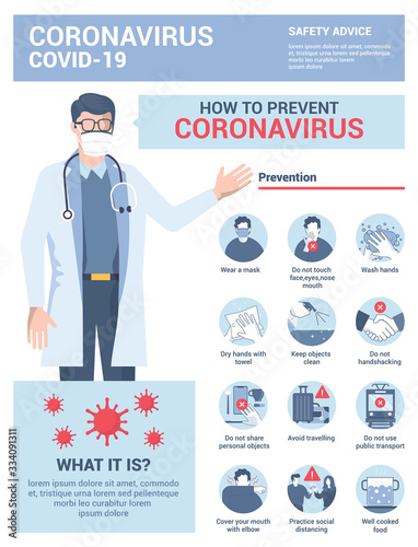 Photographie Flat Modern design Illustration of Coronavirus - Safety Advices 5