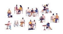 Set Of People Sitting At Table In Street Cafe Vector Flat Illustration. Collection Of Cartoon Couple, Family, Child, Man And Woman Resting At Cafeteria Isolated On White. Person Relaxing Together
