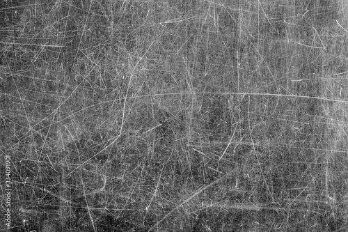 Close -up of  scratched glass surface. Black and white. Canvas Print