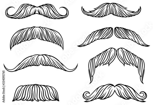 Set of different mustache Wallpaper Mural