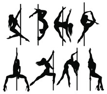 Set Of Silhouette Women Dancers On A Pole. Collection Of Pylon Dance Illustrations For Fitness, Striptease In Various Poses. Exotic Dance. Vector Illustration On A White Background.