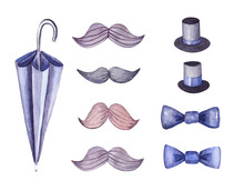 Watercolor Set Little Gentleman For Men And Boys. Set For Shops Of Men's Suits And Accessories: Umbrella Cane, Hats Cylinders, Mustache, Bow Tie