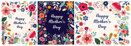 Obraz Collection of Happy Mothers Day greeting illustrations with colorful spring flowers. Happy Mothers Day templates, invitations - fototapety do salonu