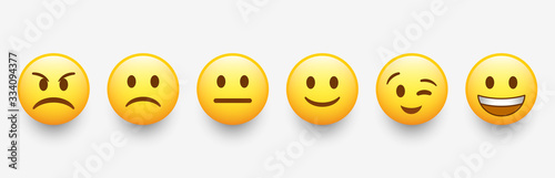 Fotografie, Obraz New modern emoticons set with different reactions for social network