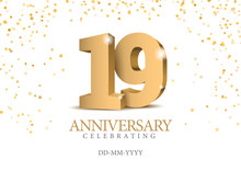Anniversary 19. Gold 3d Number...