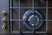 Gas Burner On Black Modern Kit...