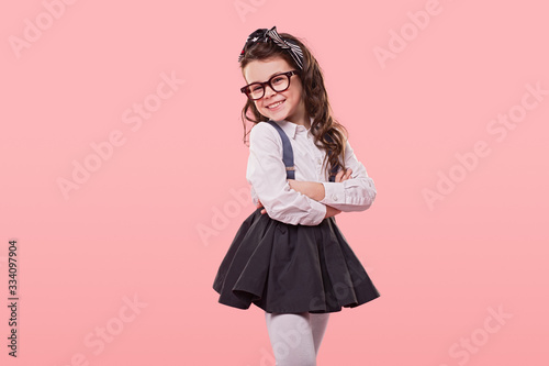 Positive girl in trendy clothes Fototapet