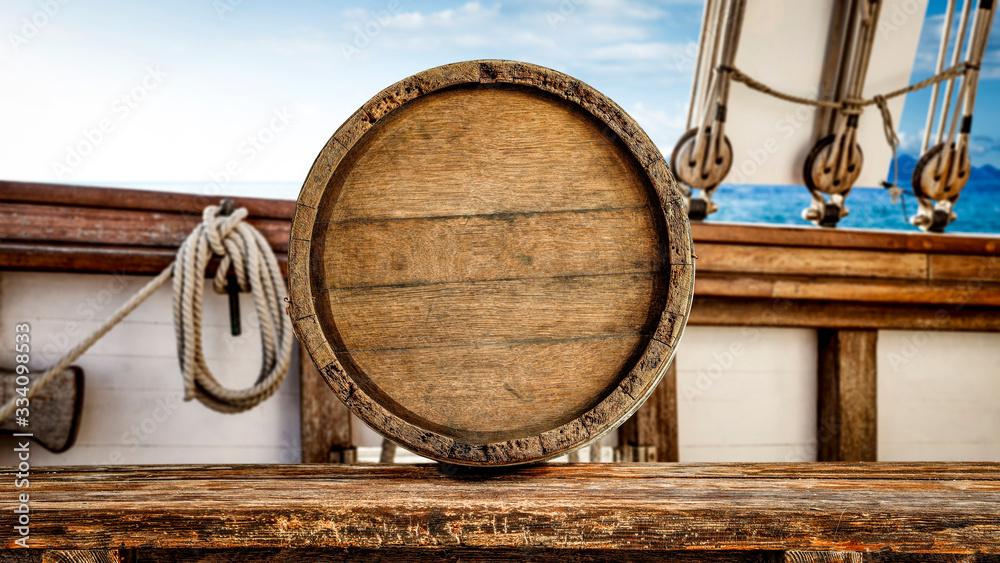 Fototapeta Barrel on desk and ship interior