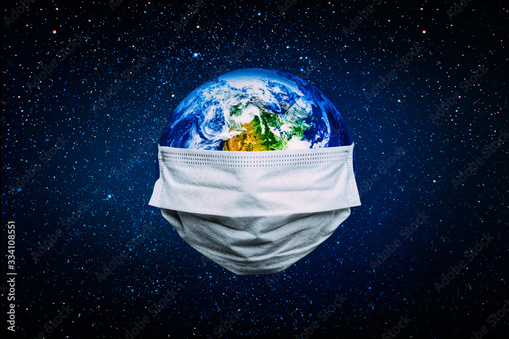 Fototapeta The whole earth is quarantined, the earth is wearing a mask Coronavirus and Air pollution pm2.5 concept. COVID-19 Elements of this image furnished by NASA