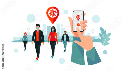 Photo Smartphone health virus tracking location app with people wearing protection face mask to prevent coronavirus, disease, flu, air pollution