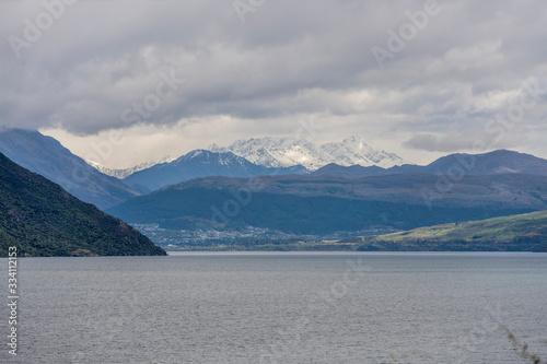 Photo Wakatipu lake and Mount Aurum in background, from near Devils Staircase, Otago,