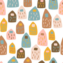 Seamless Pattern With Cute Hou...