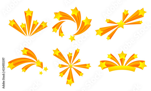 Star Fireworks or Salute Explosion with Flaring Sparkles Vector Set Fototapet