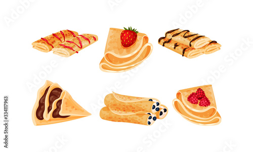 Obraz Crepes or Blinis with Different Stuffing Rolled and Folded in Triangle Shape Vector Set - fototapety do salonu