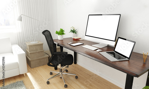 Obraz home office desktop - fototapety do salonu