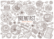 Set Of Doodle Breakfast Food A...