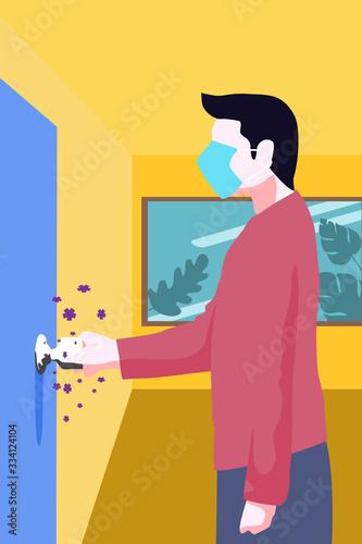 a man is touching germ on door knob. Wallpaper Mural
