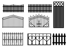 Set Of Silhouette Fence. Colle...