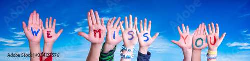 Fototapeta Children Hands Building Colorful Word We Miss You