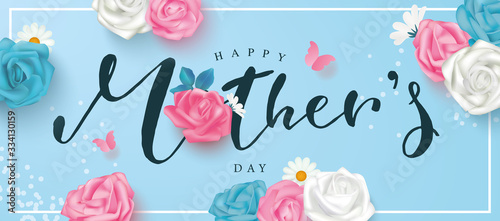 Fotografie, Obraz Happy mother's day postcard with roses, lettering, daisies and butterflies on a blue background