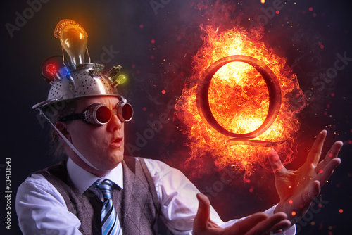 Nerd with QAnon symbol or Q Anon, a deep state conspiracy theory Fototapeta