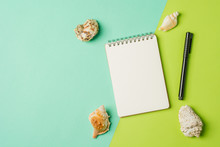 Sea Shells With Empty Notebook On Green Background. Flat Lay Background.