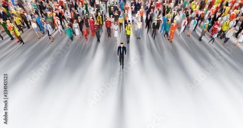 Fotografie, Tablou Businessman leader leading a large group of people.